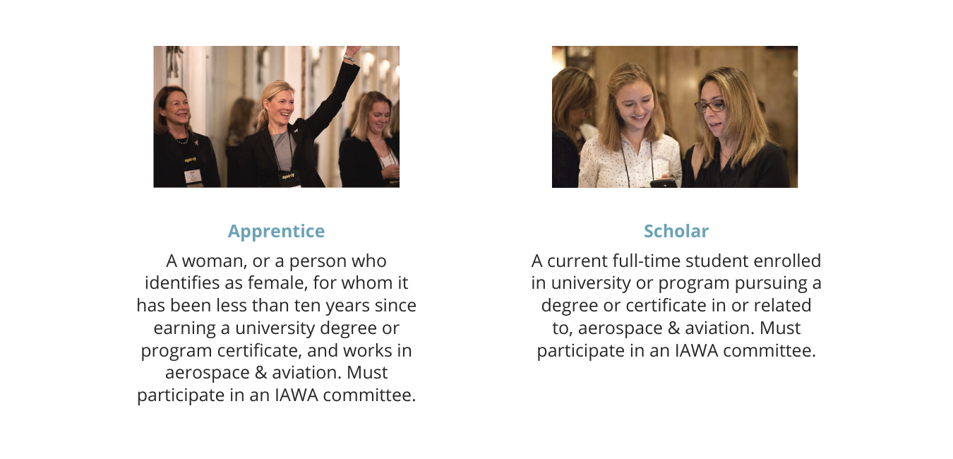 Apprentice Member Type: a women, or a person who identifies as female, for whom it has been less than ten years since earning a university degree or program certificate, and works in the aerospace and aviation industry. Must participate in an IAWA Committee. Scholars: a women, or a person who identifies as female, for whom is a current full-time student as a university or program pursuing a degree or certificate in or related to, aerospace and aviation. Must participate in an IAWA committee.