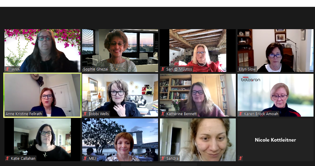 Screen shot of attendees during IAWA's virtual event on Hygee