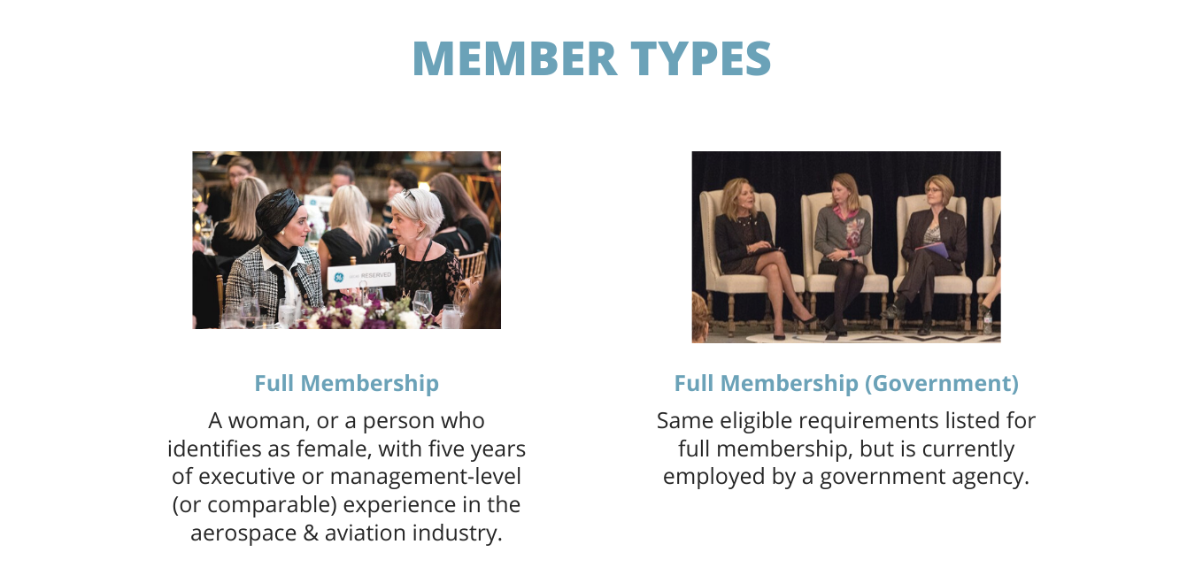 Full Membership: A woman, or a person who identifies as female, with five years of executive or management -level (or comparable) experience in the aerospace and aviation industry. Full Government Membership: Same eligible requirements listed for full, but is currently employed by a government agency.