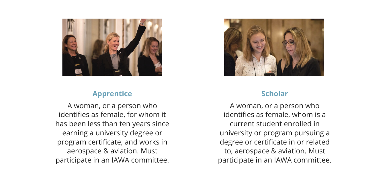 Apprentice Member Type: a women, or a person who identifies as female, for whom it has been less than ten years since earning a university degree or program certificate, and works in the aerospace and aviation industry. Must participate in an IAWA Committee. Scholars: a women, or a person who identifies as female, for whom is a current student as a university or program pursuing a degree or certificate in or related to, aerospace and aviation. Must participate in an IAWA committee.
